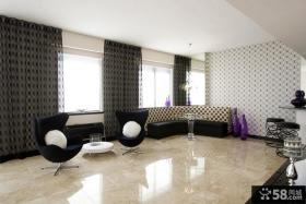 现代风格客厅沙发背景墙窗帘装修效果图