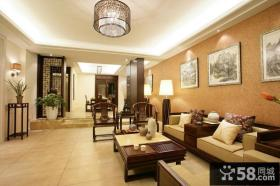 简约中式客厅吊顶效果图欣赏