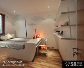 简约卧室手绘壁纸装修效果图