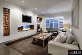 现代别墅室内客厅电视背景墙效果图欣赏大全2014图片