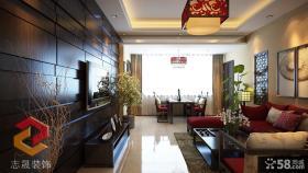 中式客厅液晶电视机背景墙设计效果图