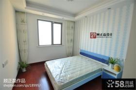 时尚现代风格卧室条形壁纸背景墙效果图