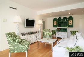 绿色田园风格客厅电视背景墙装修效果图
