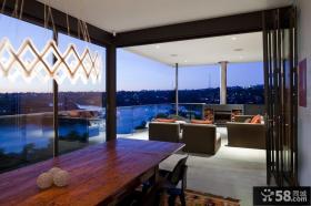 豪华别墅阳台餐厅折叠门设计效果图