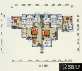 三层双拼别墅户型图设计
