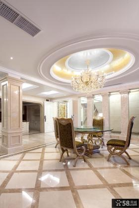 欧式别墅餐厅圆形吊顶设计
