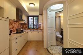 厨房整体欧式实木橱柜装修效果图片