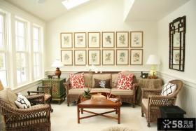 美式设计客厅相片墙图片大全2014
