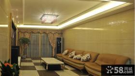 简欧客厅方形水晶灯吊顶效果图