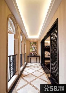 欧式家装别墅走廊吊顶装修设计