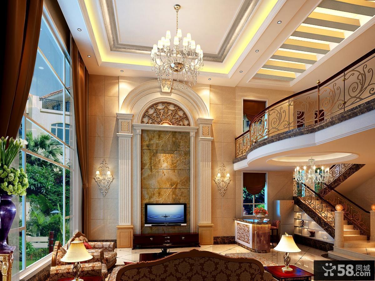 2013最新欧式别墅客厅吊顶装修效果图