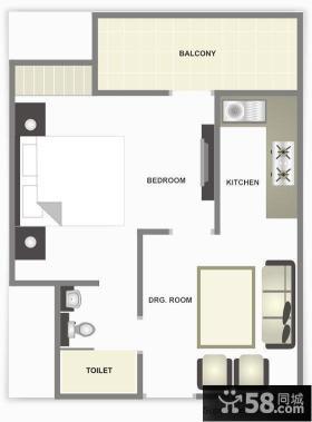 单身公寓装修平面图