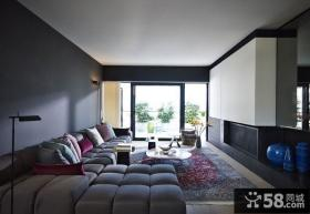 清新的暗色的现代风格客厅装修效果图大全2012图片
