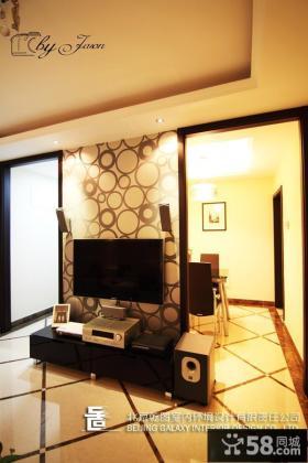 现代风格电视背景墙壁纸效果图
