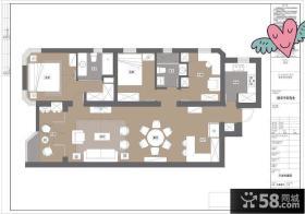 120平米三室一厅平面图设计图