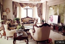 美式客厅大理石电视背景墙装修效果图片