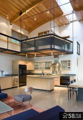 欧式半开放式厨房吧台装修效果图