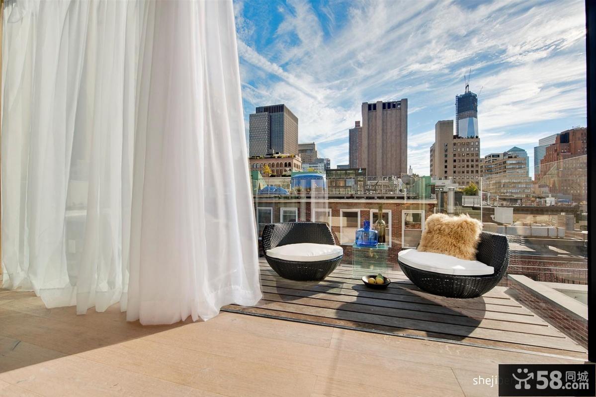 开放式阳台窗帘装修效果图图片