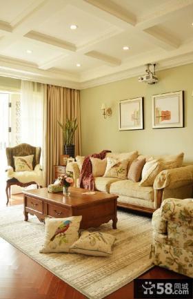 欧式田园风格两居室客厅装修图
