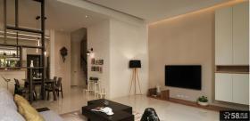 现代简约复式楼客厅电视背景墙效果图
