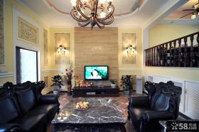 美式风格别墅客厅电视背景墙效果图