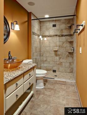 简约风格小卫生间浴室玻璃门效果图