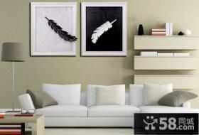 美式简约简单黑白装饰画图片
