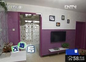 交换空间小户型紫色客厅电视墙装修效果图