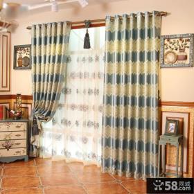 美式家居风格客厅窗帘效果图