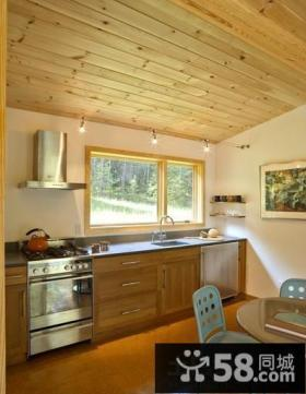 小厨房桑拿板吊顶效果图