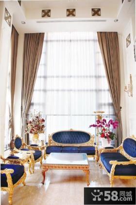 法式新古典风格别墅挑高客厅效果图