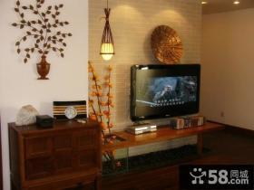 简约中式家庭装修电视背景墙效果图