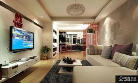 小户型客厅瓷砖电视背景墙装修效果图