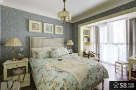 法式田园风格二居卧室墙纸效果图