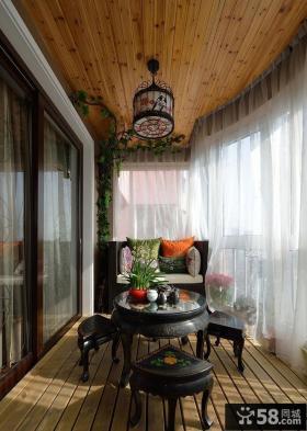 中式现代阳台家装设计装饰效果图