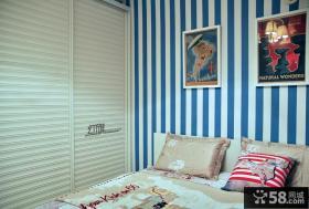 现代风格卧室条纹壁纸图片大全