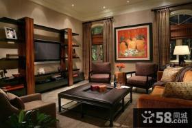 12万打造中式内敛的小户型客厅电视背景墙装修效果图大全