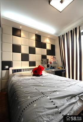 现代家装卧室软包背景墙效果图