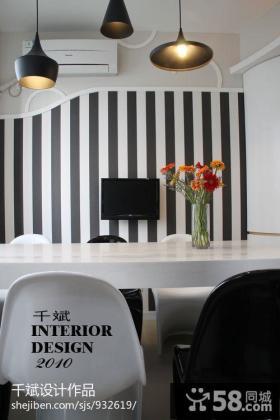现代简约小餐厅壁纸背景墙设计效果图