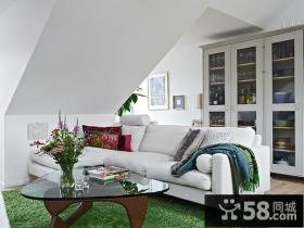 60㎡小户型阁楼翻新 绿色自然的客厅装修效果图