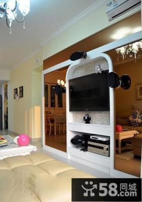 现代田园风格客厅电视背景墙装修效果图
