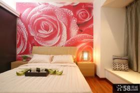 现代三居室卧室床头玫瑰花壁纸图片