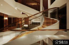 现代别墅家装石材旋转楼梯效果图