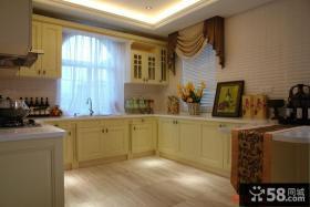 别墅开放式厨房欧式实木橱柜效果图