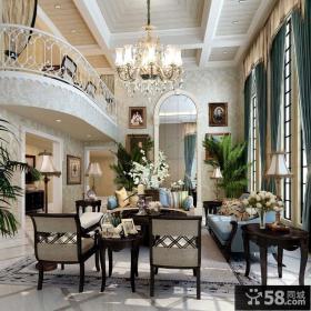 别墅挑高客厅吊顶灯装修效果图