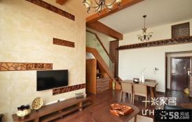 简约中式复式楼客厅电视背景墙效果图