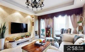 混搭客厅壁纸电视背景墙效果图