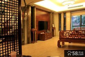 简约中式木质电视背景墙装修效果图