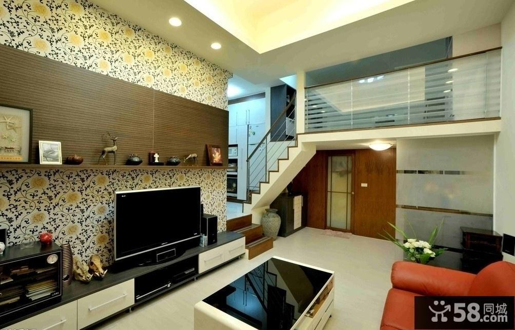 复式楼客厅电视背景墙效果图图片