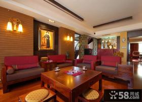 中式风格复式楼客厅装修效果图大全2013图片